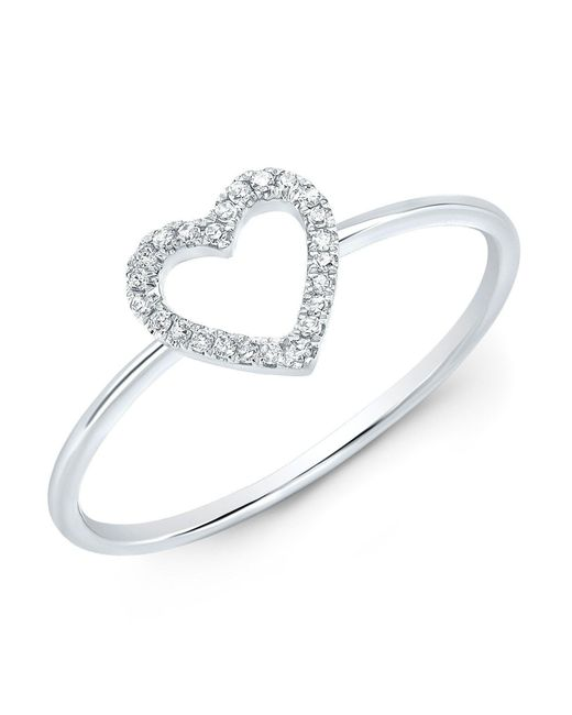 Anne Sisteron - Metallic 14kt White Gold Diamond Open Heart Ring - Lyst