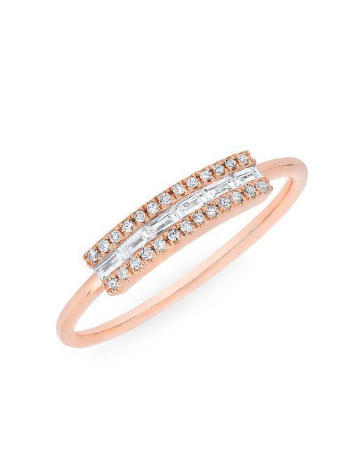 Anne Sisteron - Multicolor 14kt Rose Gold Diamond Baguette Curved Bar Delilah Ring - Lyst