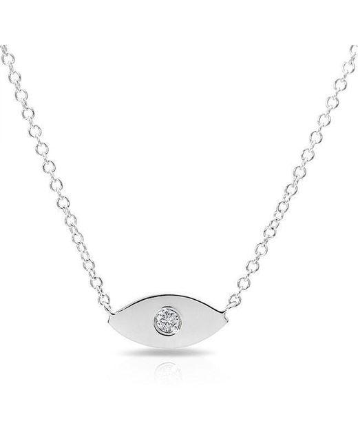 Anne Sisteron - Metallic 14kt White Gold Diamond Evil Eye Necklace - Lyst