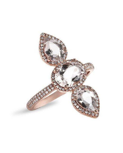 Anne Sisteron - Metallic 14kt Rose Gold Morganite Diamond Ring - Lyst