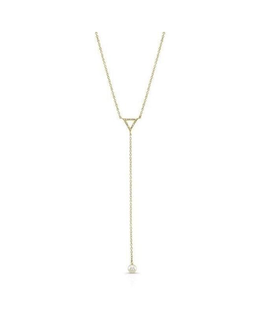 Anne Sisteron - Metallic 14kt Yellow Gold Diamond And Pearl Lariat Necklace - Lyst
