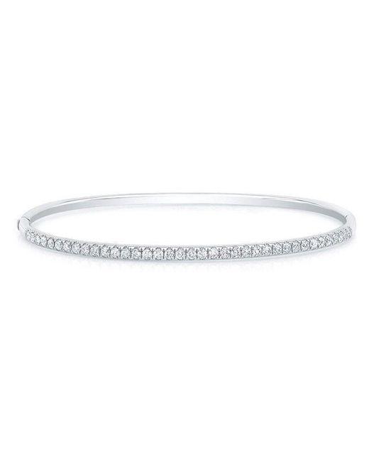 Anne Sisteron Metallic 14kt White Gold Diamond Ellipse Bangle