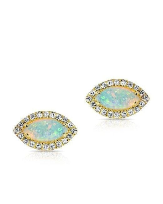 Anne Sisteron - Metallic 14kt Yellow Gold Opal Diamond Mini Marquis Stud Earrings - Lyst