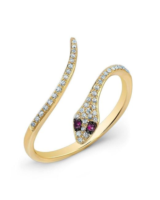 Anne Sisteron - Metallic 14kt Yellow Gold Diamond Slytherin Ring With Ruby Eyes - Lyst