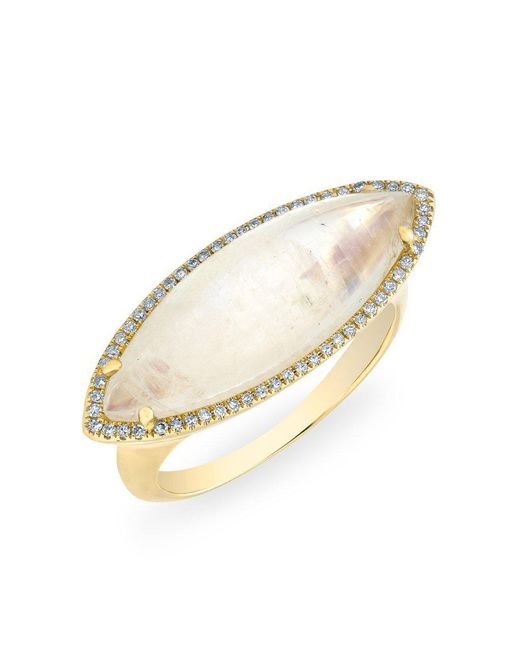 Anne Sisteron - Metallic 14kt Yellow Gold Diamond Moonstone Marquis Ring - Lyst