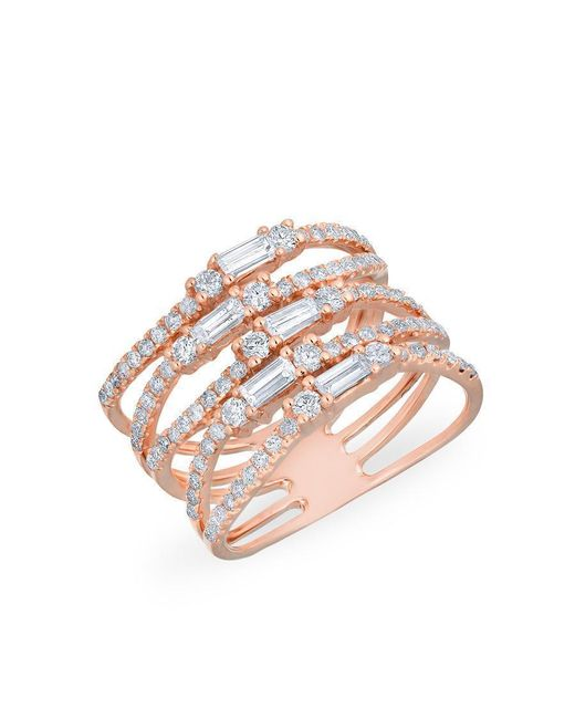 Anne Sisteron | Multicolor 14kt Rose Gold Diamond Baguette Stacked Ring | Lyst