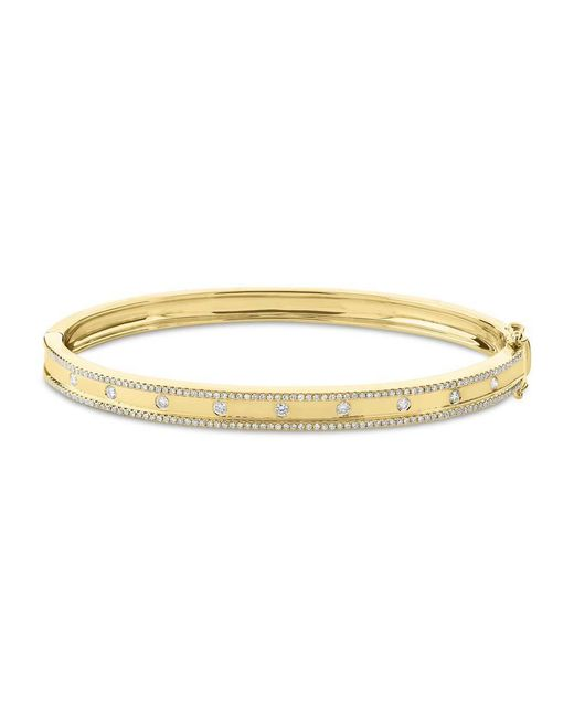 Anne Sisteron Metallic 14kt Yellow Gold Diamond Trimmed Bangle