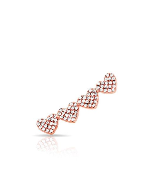 Anne Sisteron Pink 14kt Rose Gold Diamond Row Of Hearts Climber