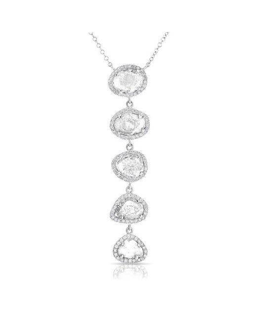 Anne Sisteron - Metallic 14kt White Gold Diamond Slice Drop Necklace - Lyst