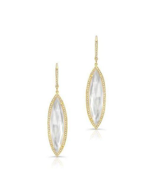 Anne Sisteron - Metallic 14kt Yellow Gold Diamond Mother Of Pearl Celeste Marquis Earrings - Lyst
