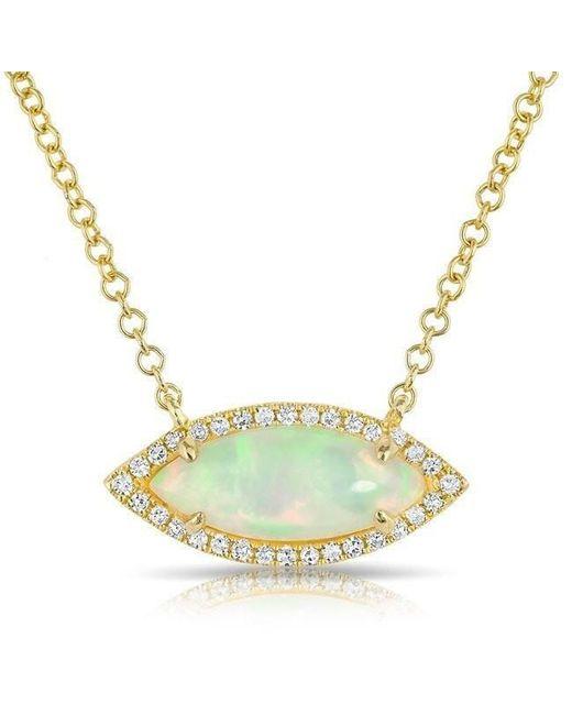 Anne Sisteron - Metallic 14kt Yellow Gold White Opal Diamond Mini Marquis Necklace - Lyst