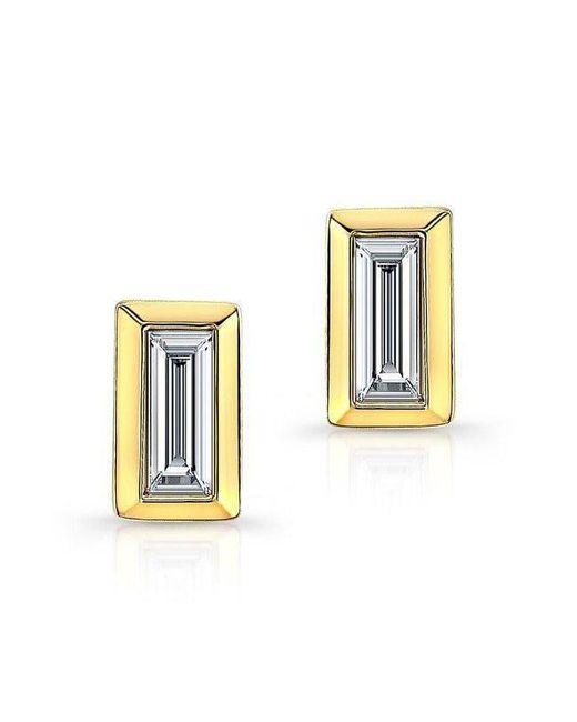 Anne Sisteron - Metallic 14kt Yellow Gold Diamond Single Baguette Bar Earrings - Lyst