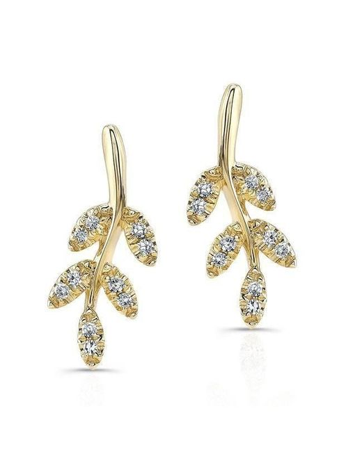 Anne Sisteron - Metallic 14kt Yellow Gold Diamond Ivy Stud Earrings - Lyst