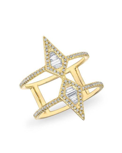 Anne Sisteron - Metallic 14kt Yellow Gold Baguette Diamond Double Spear Ring - Lyst