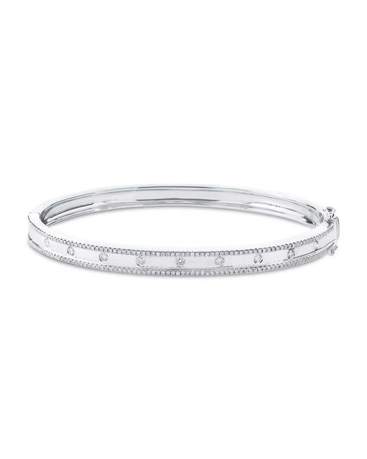 Anne Sisteron Metallic 14kt White Gold Diamond Trimmed Bangle