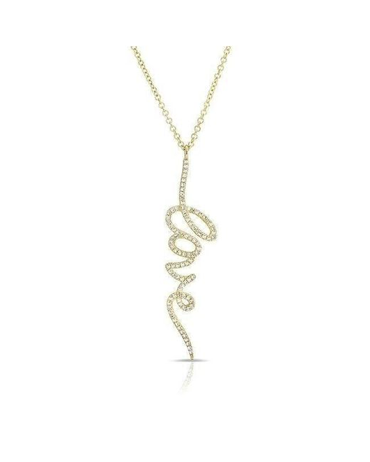 Anne Sisteron - Metallic 14kt Yellow Gold Diamond Love Pendant Necklace - Lyst