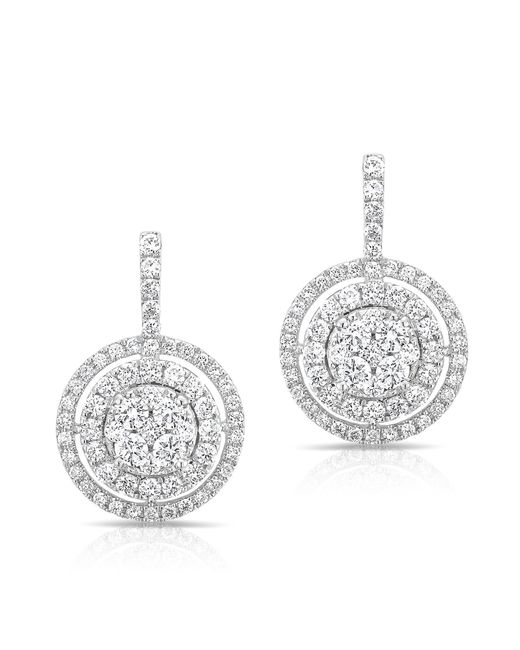 Anne Sisteron | Metallic 14kt White Gold Pave Diamond Double Halo Wireback Earrings | Lyst