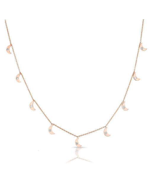 Anne Sisteron - Metallic 14kt Rose Gold Diamond Moon Drops Necklace - Lyst