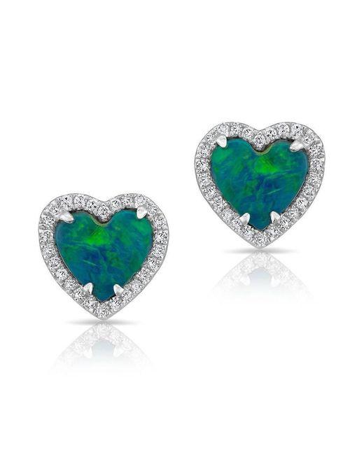 Anne Sisteron | Multicolor 14kt White Gold Opal Diamond Heart Stud Earrings | Lyst