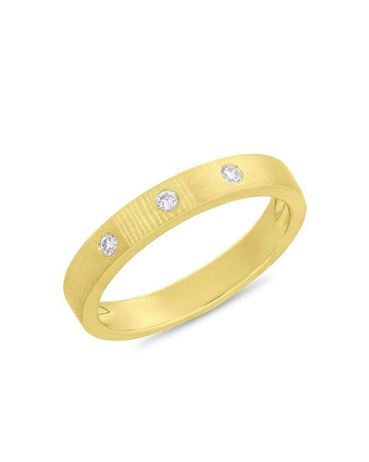 Anne Sisteron - Metallic 14kt Yellow Gold Diamond Matte Band Ring - Lyst