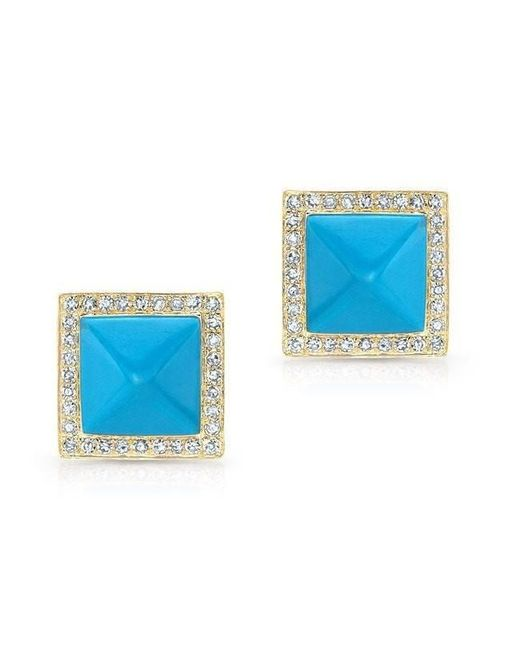 Anne Sisteron - Blue 14kt Yellow Gold Turquoise Diamond Pyramid Large Stud Earrings - Lyst