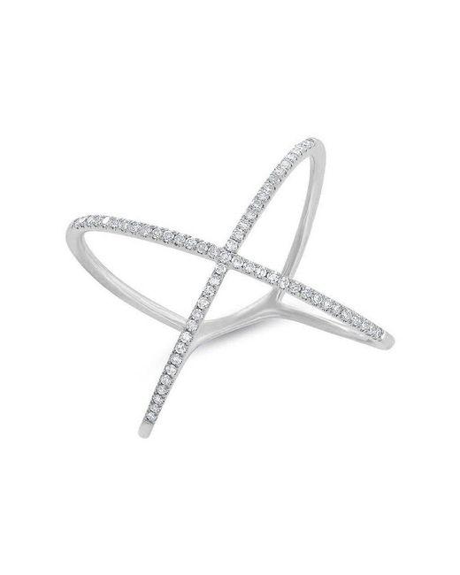 Anne Sisteron - Metallic 14kt White Gold Diamond X Ring - Lyst