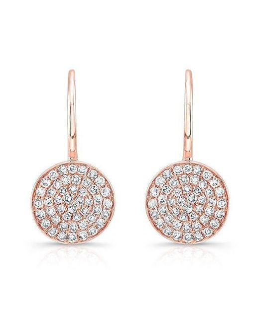 Anne Sisteron Metallic 14kt Rose Gold Diamond Disc Earrings Lyst