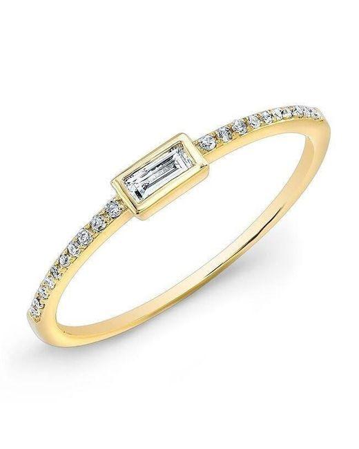 Anne Sisteron - Metallic 14kt Yellow Gold Diamond Baguette Pinkie Ring - Lyst