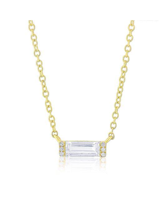 Anne Sisteron - Metallic 14kt Yellow Gold Diamond White Topaz Brick Necklace - Lyst
