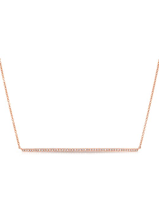 Anne Sisteron | Pink 14kt Rose Gold Diamond Long Thin Bar Necklace | Lyst