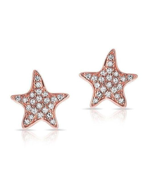 Anne Sisteron - Pink 14kt Rose Gold Diamond Starfish Stud Earrings - Lyst