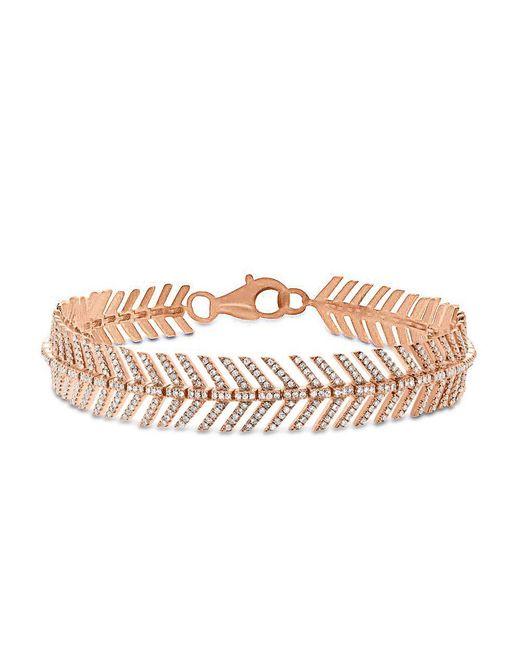 Anne Sisteron Multicolor 14kt Rose Gold Diamond Feather Bracelet