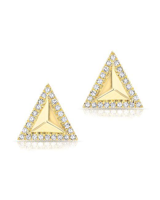 Anne Sisteron   Metallic 14kt Yellow Gold Diamond Triangle Pyramid Stud Earrings   Lyst