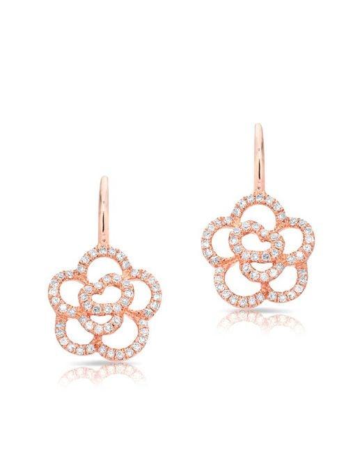 Anne Sisteron - Multicolor 14kt White Gold Diamond Camellia Flower Wireback Earrings - Lyst