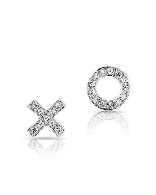 Anne Sisteron - Metallic 14kt White Gold Diamond Mini Xo Stud Earrings - Lyst