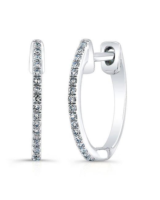 Anne Sisteron | Metallic 14kt White Gold Diamond Huggie Earrings | Lyst
