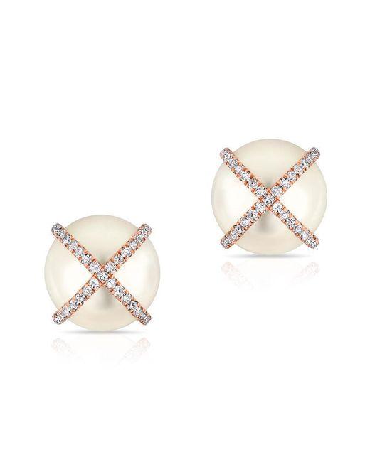 Anne Sisteron | Metallic 14kt Rose Gold Diamond X Pearl Stud Earrings | Lyst