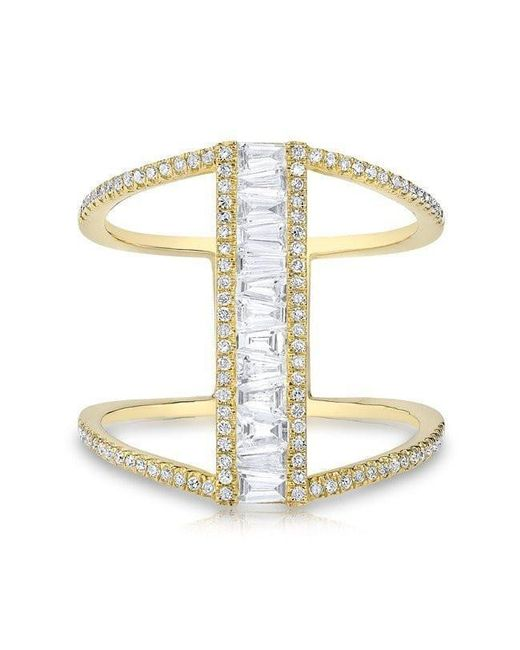 Anne Sisteron - Metallic 14kt Yellow Gold Baguette Diamond H Ring - Lyst