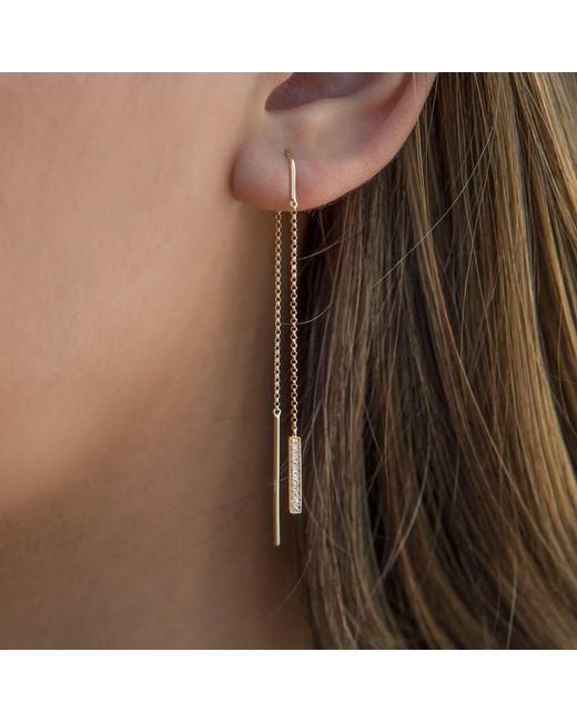 Anne Sisteron 14kt White Gold Diamond Bar Threader Earrings