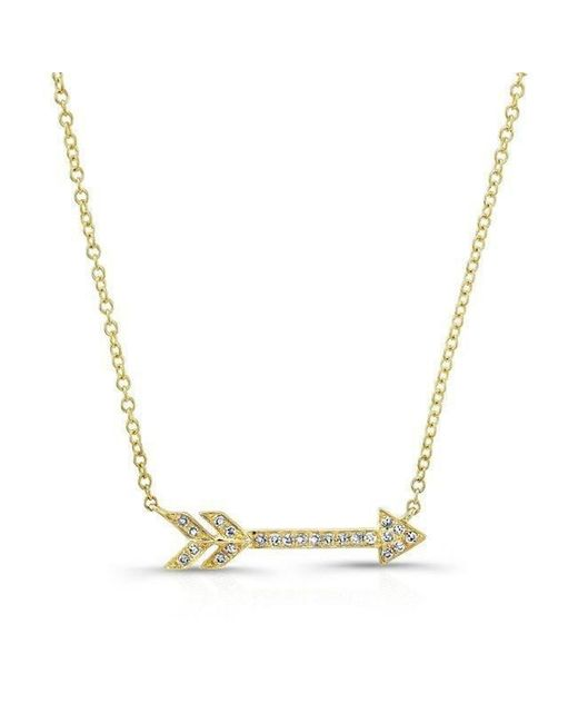 Anne Sisteron | Metallic 14kt Yellow Gold Diamond Arrow Necklace | Lyst