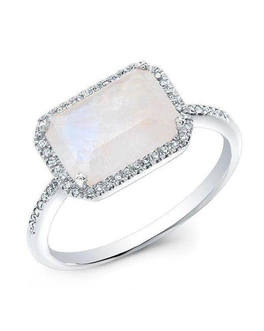 Anne Sisteron Metallic 14kt White Gold Moonstone Diamond Chic Ring