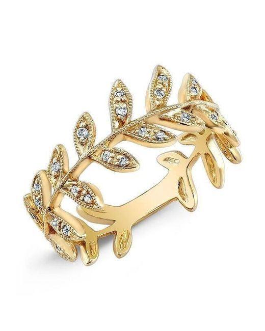 Anne Sisteron - Metallic 14kt Yellow Gold Diamond Wreath Ring - Lyst