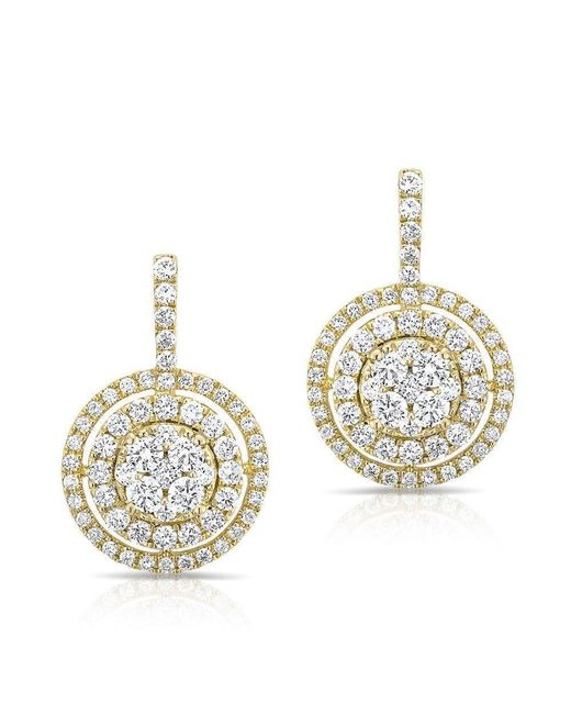 Anne Sisteron - Metallic 14kt Yellow Gold Pave Diamond Double Halo Wireback Earrings - Lyst