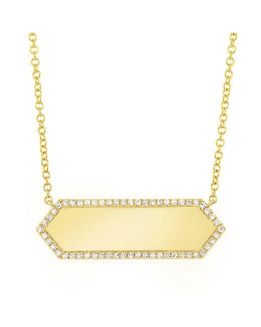 Anne Sisteron - Metallic 14kt Yellow Gold Diamond Rimmed Bar Necklace - Lyst