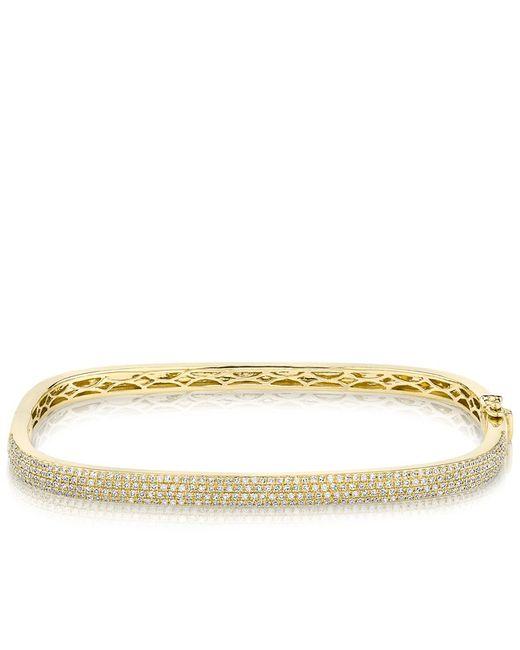 Anne Sisteron - Metallic 14kt Yellow Gold Half Diamond Square Bangle Bracelet - Lyst