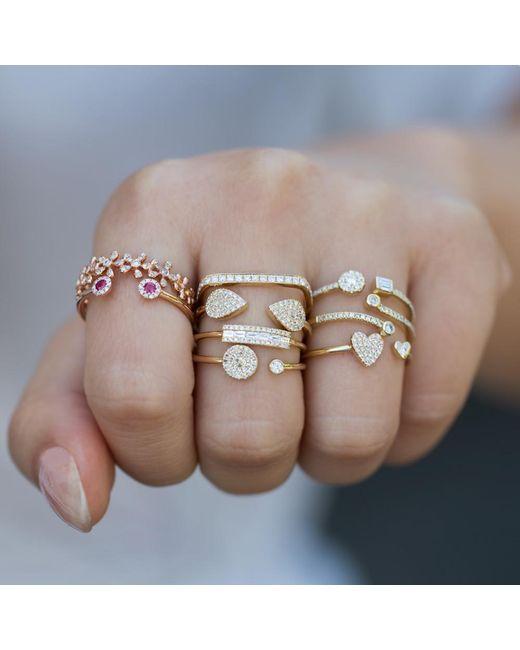 Anne Sisteron Multicolor 14kt Rose Gold Diamond Baguette Curved Bar Delilah Ring