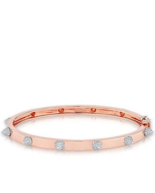 Anne Sisteron - Pink 14kt Rose Gold Diamond Extreme Punk Rock Bangle Bracelet - Lyst