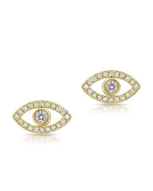 Anne Sisteron - Metallic 14kt Yellow Gold Mini Evil Eye Diamond Stud Earrings - Lyst