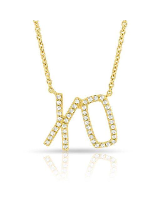 Anne Sisteron Metallic 14kt Yellow Gold Diamond Xo Necklace