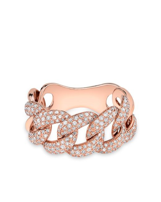 Anne Sisteron | Pink 14kt Rose Gold Luxe Light Diamond Chain Link Ring | Lyst